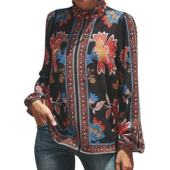 JiaMeng Mujer Casual Camiseta gasaTops Blusa, Moda Casual Estampado de Manga Larga Cuello Alto Gasa