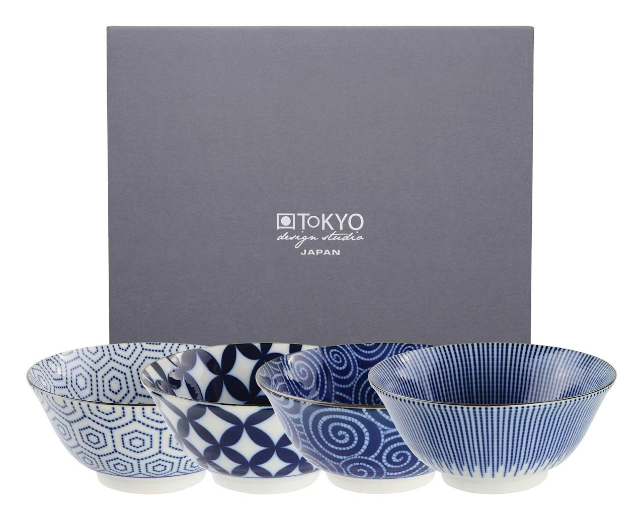 Tokyo Design Studio, Floral Blue, 4 Schalen Set , 4-tlg., Ø 14.8 cm, Porzellan aus Japan Ø 14.8 cm
