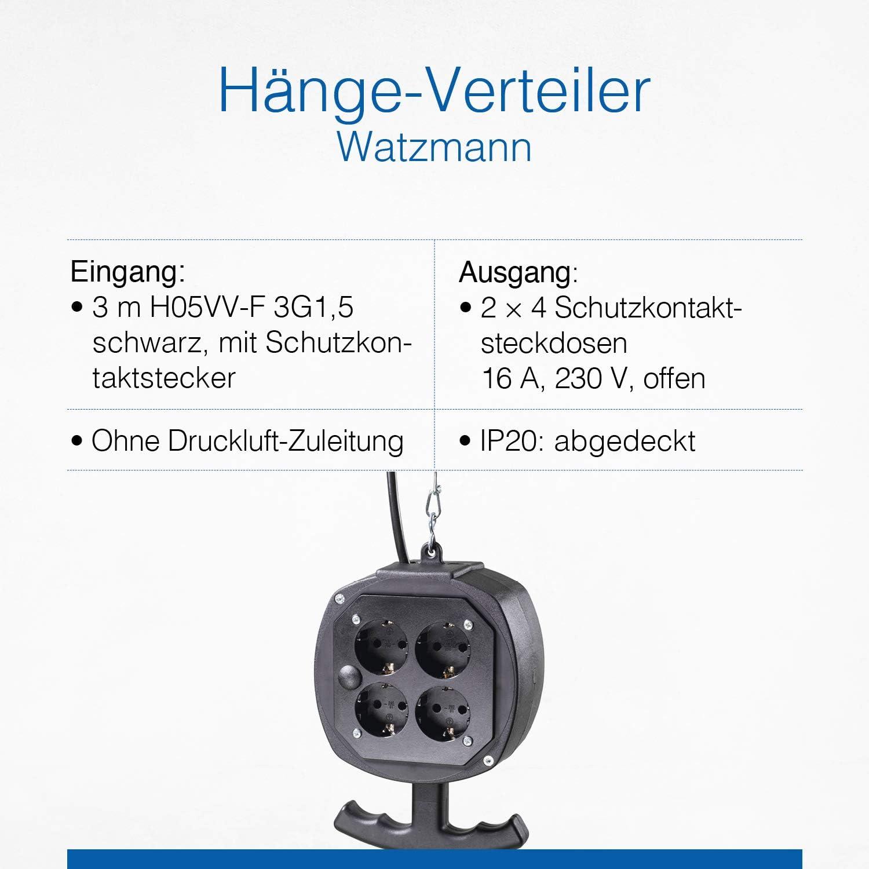 IP20 Strom- /& Druckluftverteiler mit 3 m Anschlussleitungen Schwabe H/ängeverteiler Belchen Schwarz I 60972 4 x Schutzkontaktsteckdosen /& Schutzkontaktstecker 230 V // 16 A as