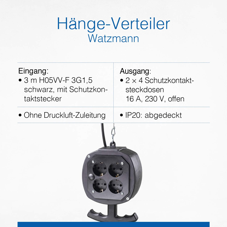 2x4 Schutzkontaktsteckdosen mit Klappdeckel /& Schutzkontaktstecker 230 V // 16 A Schwarz I 60973 IP44 Schwabe H/ängeverteiler Zugspitze Stromverteiler mit 3 m Anschlusskabel /& Gliederkette as