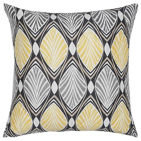 IKEA ASIA HASTFIBLA - Funda de cojín, Color Gris y Amarillo ...
