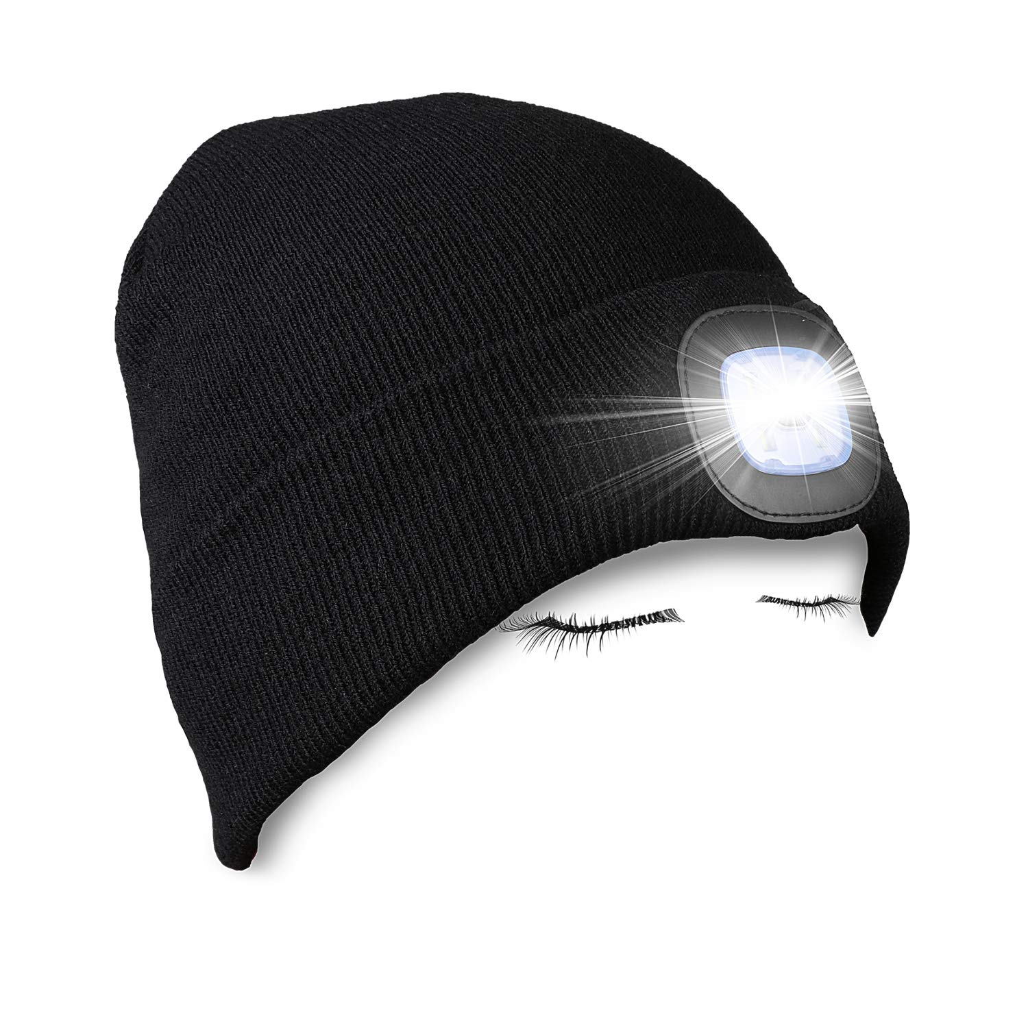 PRAVETTE Unisex Lighted Beanie Cap Hands Free Headlamp Hat Winter Warm Knit Cap with Adjustable LED Brightness for Men,Women,Dog Walking, Hiking, Jogging, Camping, Handyman Working