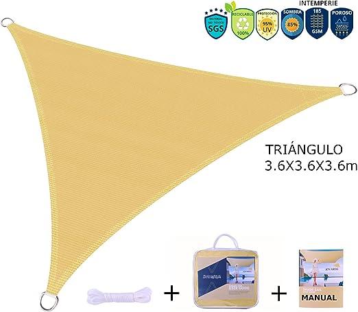 JOYARDS Toldo Vela de Sombra Triangular 3.6 Metros Transpirable Color Arena | Se instala fácil en