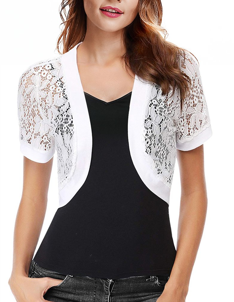 CJ Women Solid Button Down Long Sleeve Cropped Bolero Cardigan (S-XXL) (White, XL)