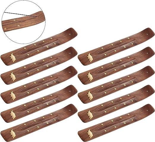 """YOU CHOOSE DESIGN! Wooden Incense Burner Holder Ash Catcher for Sticks 10/"""""""