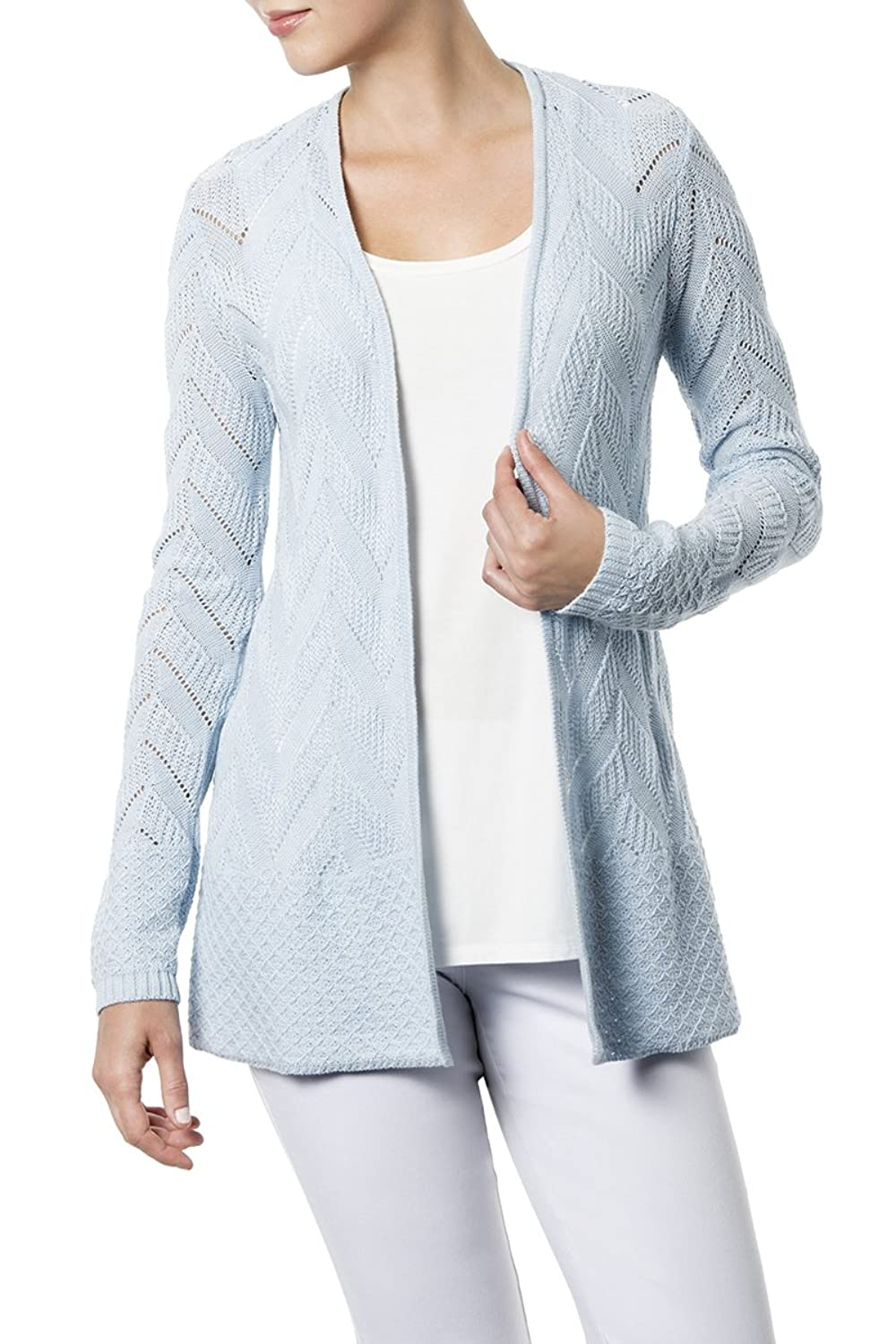 89th & Madison Long Sleeve Open Cardigan With Mitered Rib&Mini Dot Trim