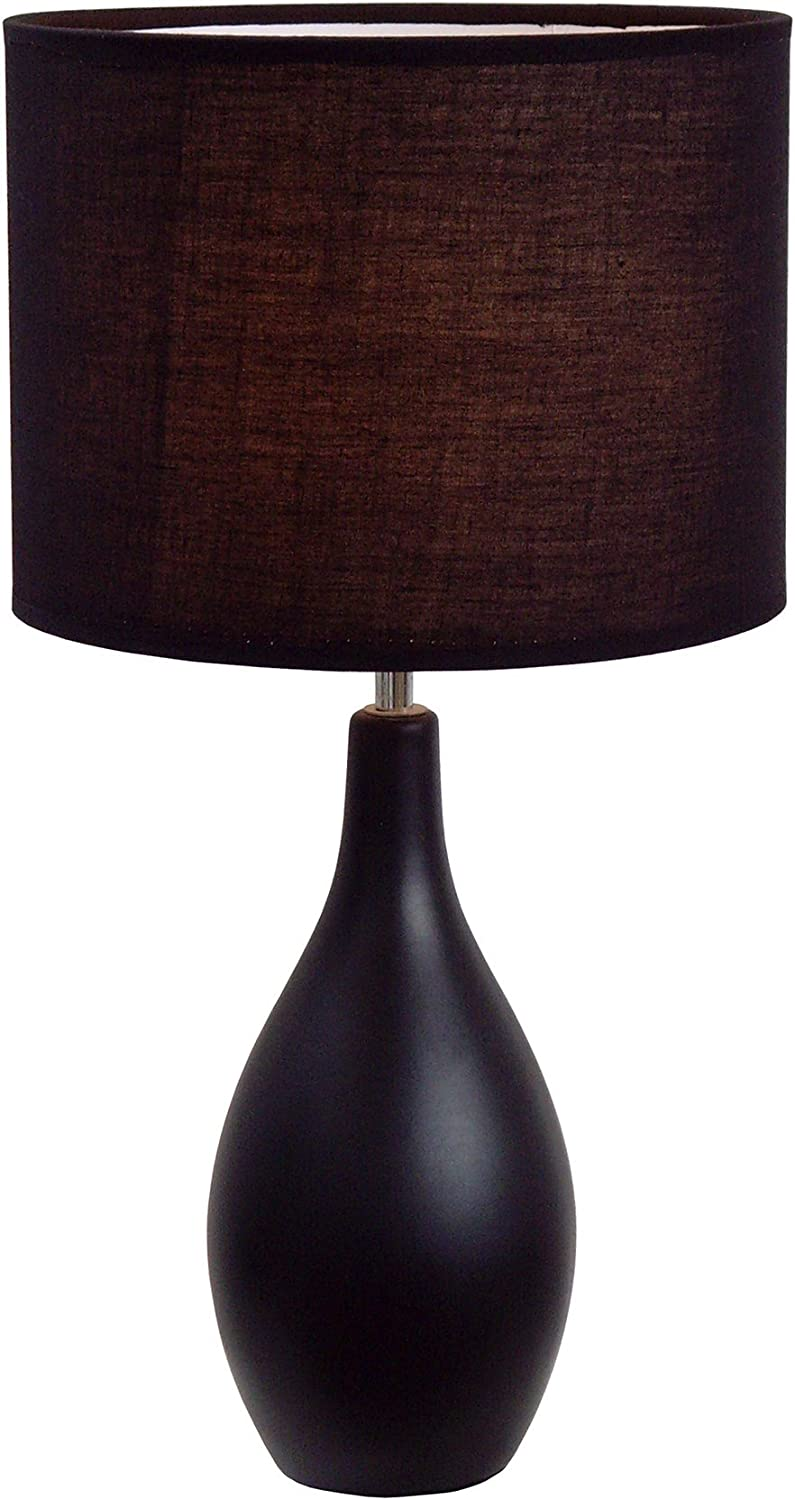 """Simple Designs Home LT2002-BLKSimple Designs Oval Bowling Pin Base Ceramic Table Lamp, Black, 18.11"""" x 9.45"""" x 9.45"""""""