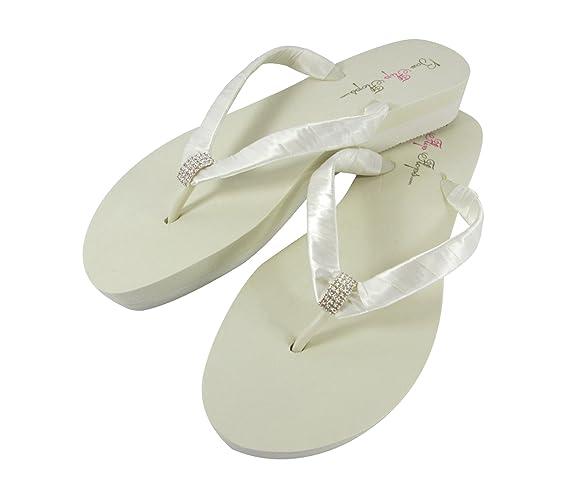 81cb2ad41fe Amazon.com  Emerald Cut Bridal Wedge Flip Flops in Low Flat or High  Platform Heel Ivory or White  Handmade