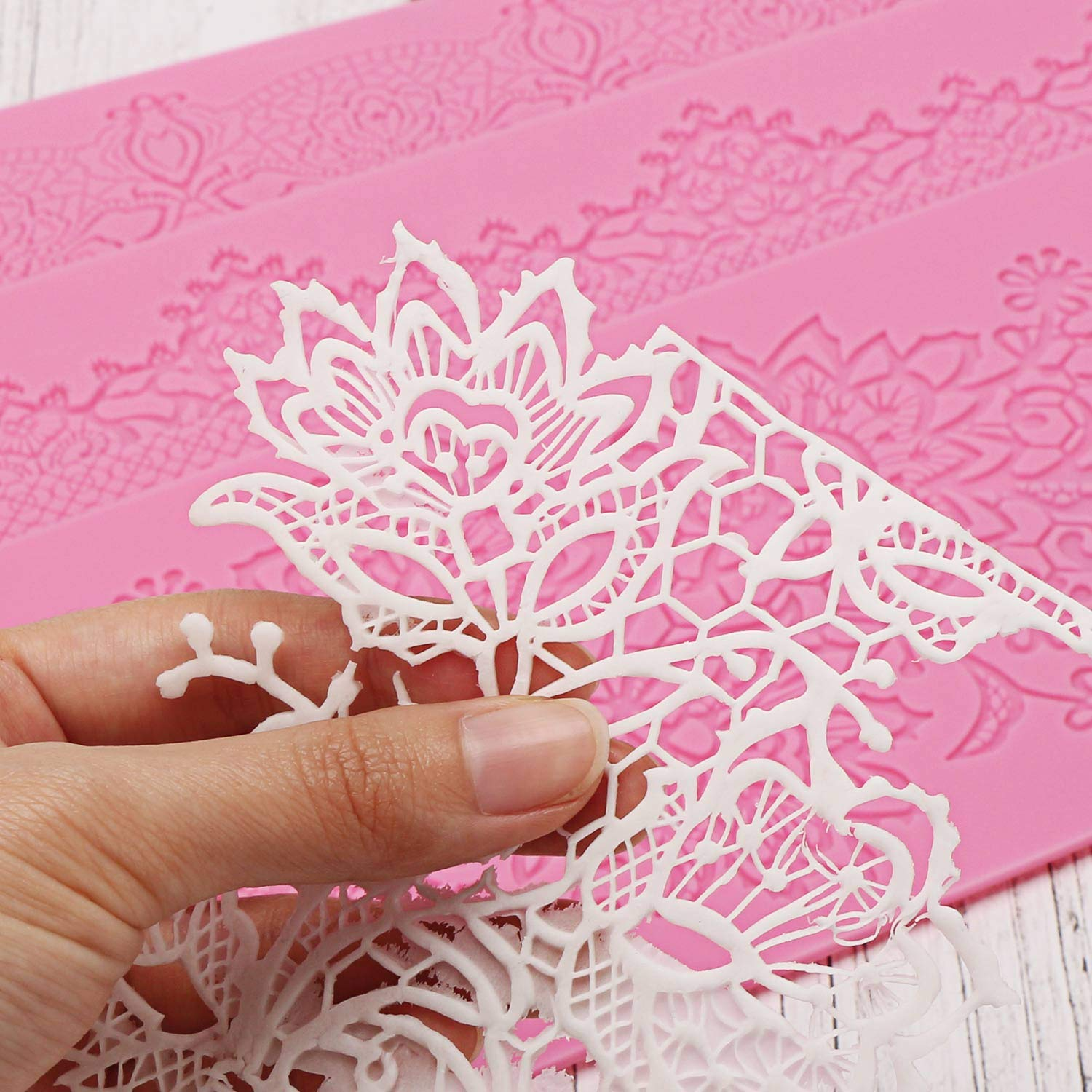 Silicone Lace Molds, Beasea 5pcs Fondant Cake Decorating Tools Lace Decoration Mat Flower Pattern Molds Sugar Craft Tools - Pink by Beasea (Image #6)
