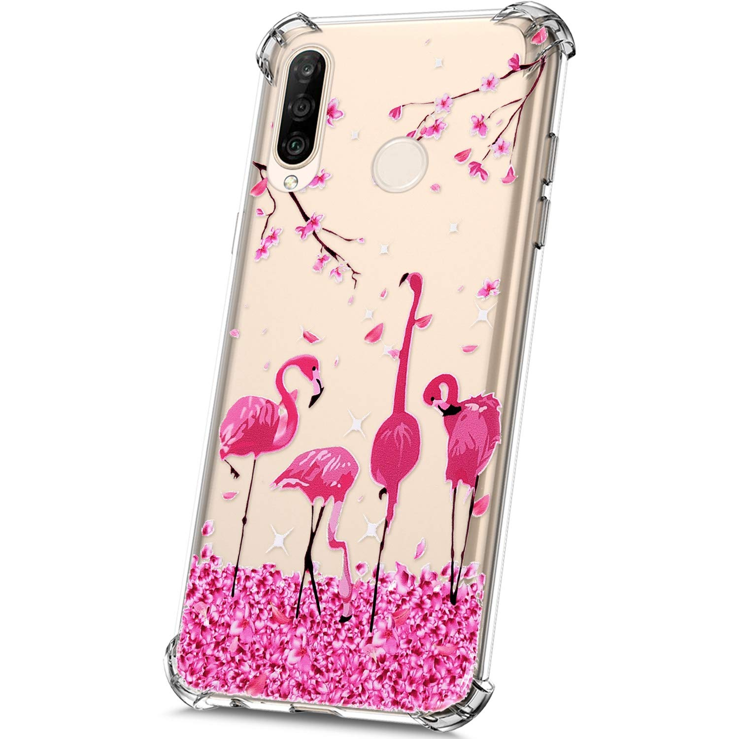 Crystal Clear Thin Soft TPU Silicone Gel Rubber Bumper Case with Pretty Design Ultra Slim Fit Shockproof Protective Case,Panda JAWSEU Transparent Case Compatible with Huawei P30 Lite