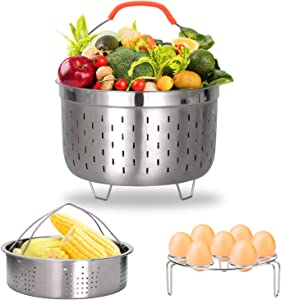 Stainless Steel Steamer Basket Compatible with Instant Pot Accessories with Egg Steamer Rack Trivet for 6 8 Quart Pressure Cooker Accessories