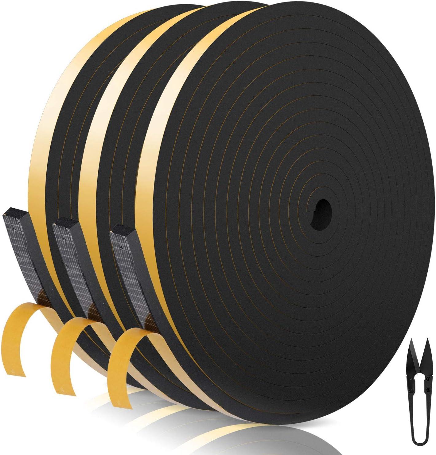 RATEL Tira de Sellado Junta 12 mm (W) * 6 mm (H) * 18 m (L) con Tijeras * 1, Tiras de Sellado Autoadhesivas Prova di collisione y Aislamiento Acústico para Grietas y Espacios (Negro)