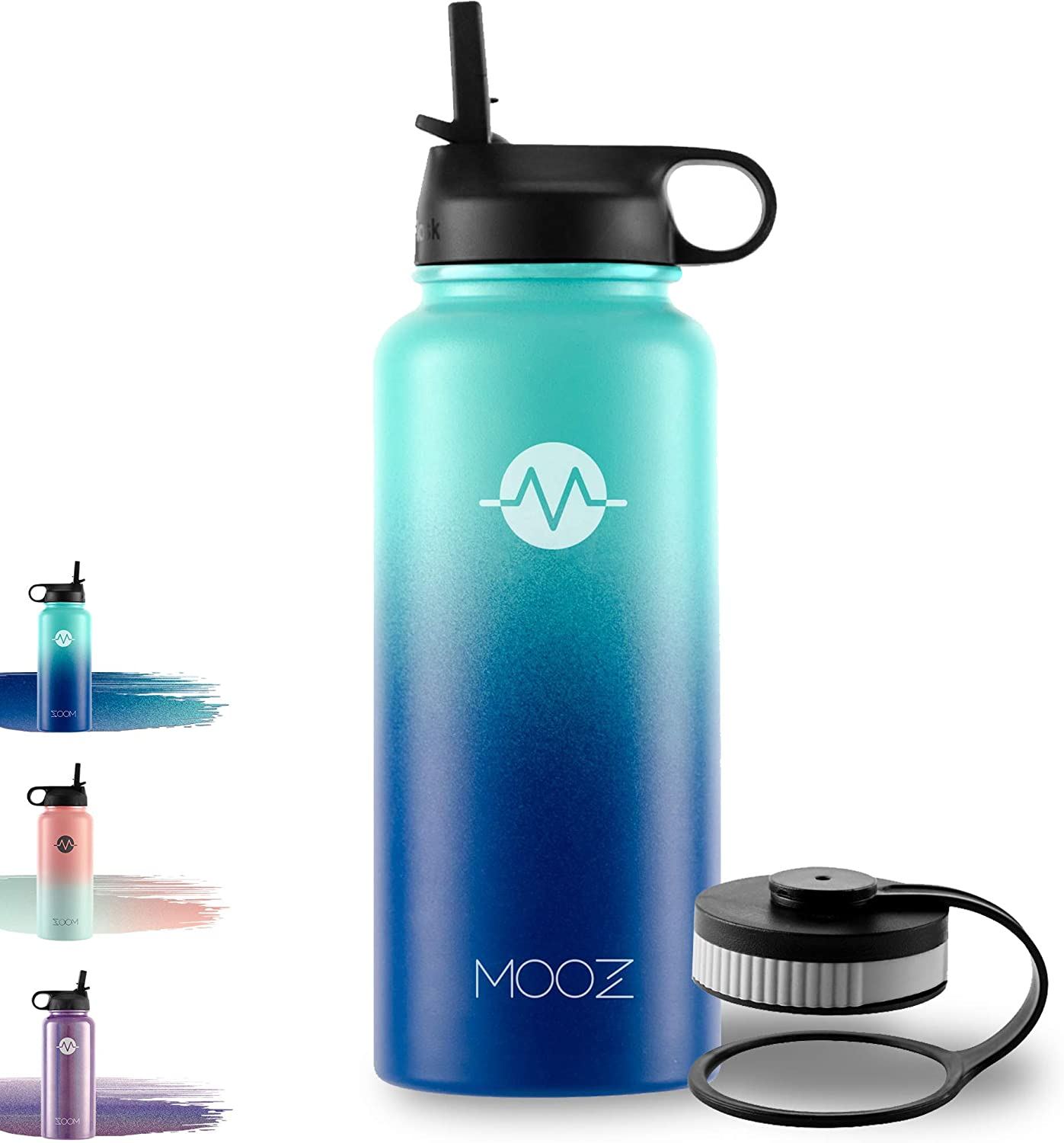 MOOZHEALTH Water Bottle 32 Oz - Stainless Steel Sports Water Bottle, Two Wide-Mouth lids, Cold or hot, Double-Layer Vacuum Insulation and Sweat-Proof Sports Design