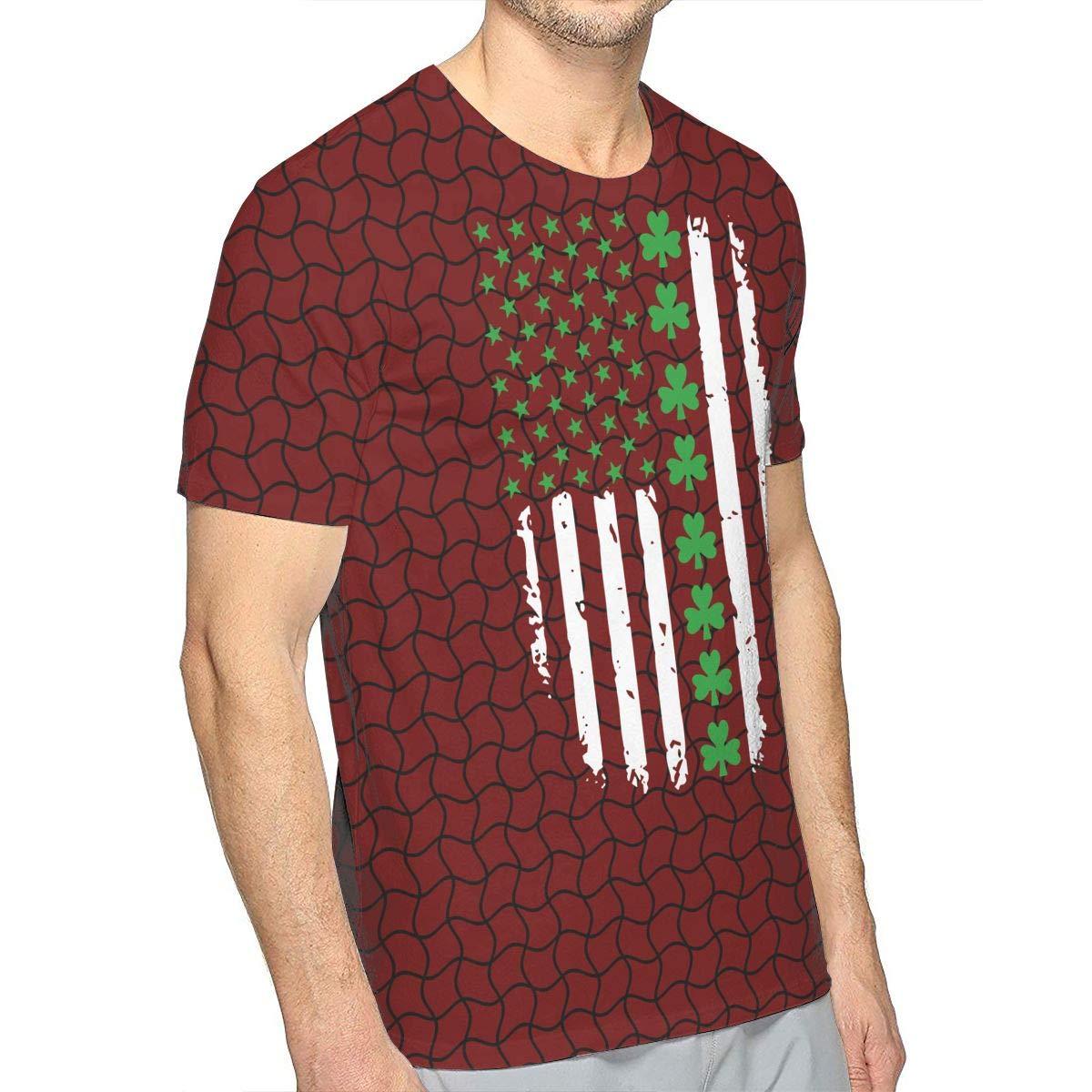 JJKKFG-H St Patricks Day Irish American Flag Mens Fashion Short-Sleeved Tee Shirt