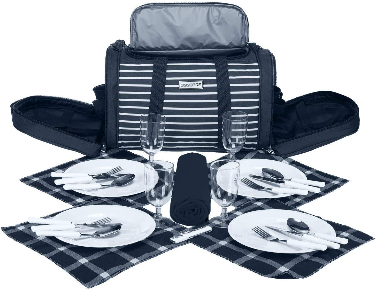 Picknick Decke Geschirr Besteck f/ür 4 Personen braun hellblau anndora Picknick K/ühltasche inkl