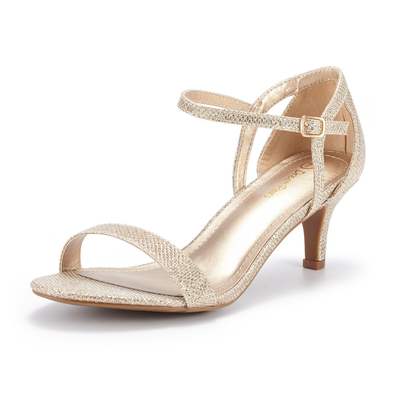 DREAM PAIRS Women's LEXII Gold Glitter Fashion Stilettos Open Toe Pump Heel Sandals Size 6 B(M) US