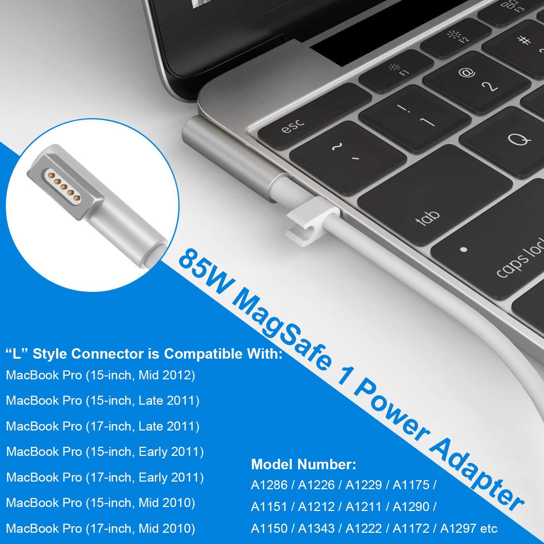 MacBook Pro Cargador Fuente, 85 W MagSafe 1 L de punta ponkor Fuente de alimentación para Apple Mac Pro 15
