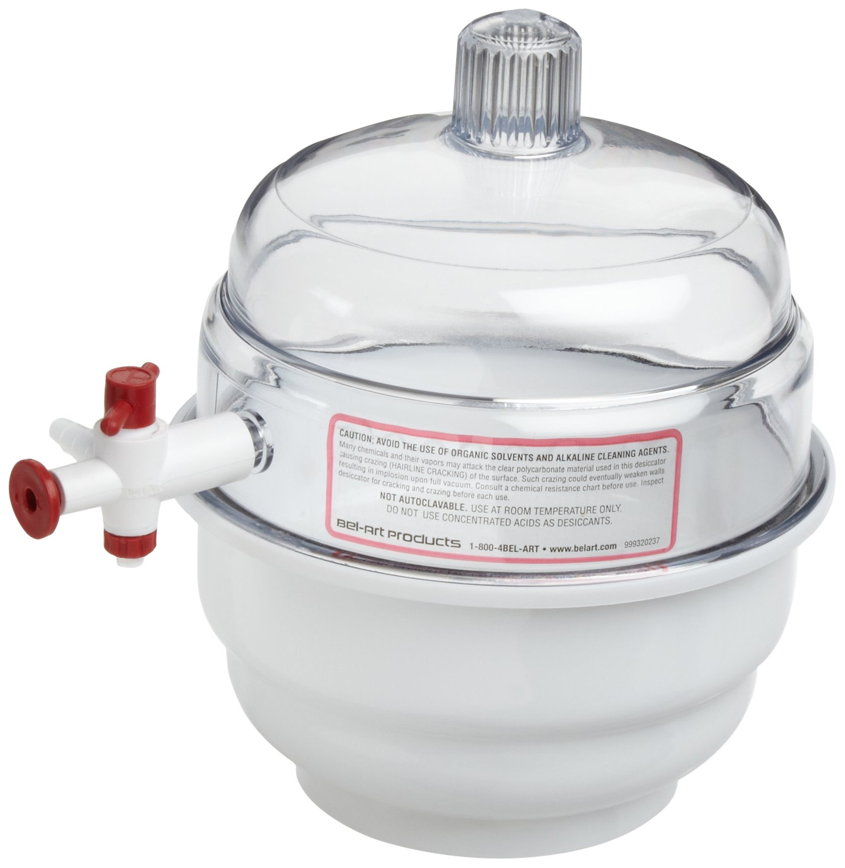 Bel-Art SPACE SAVER Polycarbonate Vacuum Desiccator with White Polypropylene Bottom; 0.09 cu. ft. (F42010-0000) by SP Scienceware (Image #2)