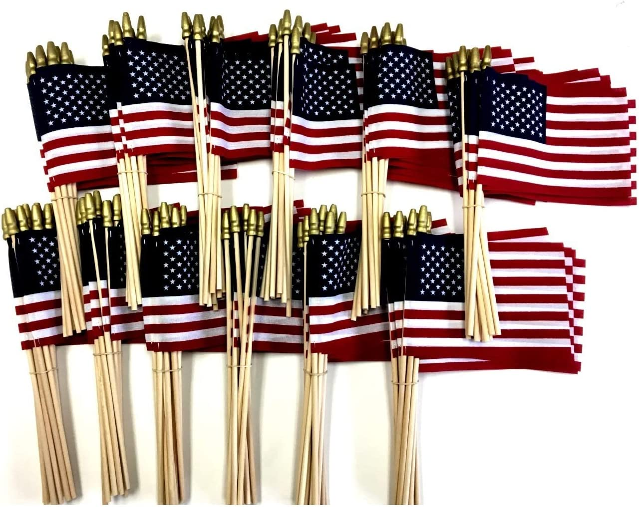 Amazon Com Made In The Usa Wholesale Box Of 144 Cotton 4 X6 United States Miniature Desk Little Table Flags 12 Dozen 4 X 6 Cotton American Small Mini Handheld Waving Stick Flags