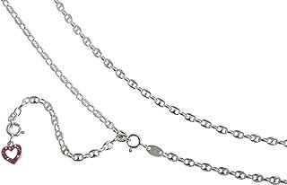 Catena pancia, bikini collana con ciondolo a forma di cuore rosso caffê fagiolo - Larghezza 3,3 mm - 65 - 110 cm - lunghezza a scelta in argento 925