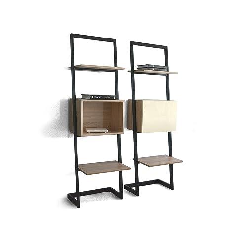 Libreria Metallo Legno.Tuoni Creation Libreria Olmo Naturale Legno Laccato Metallo Bianco 55x35x185 Cm