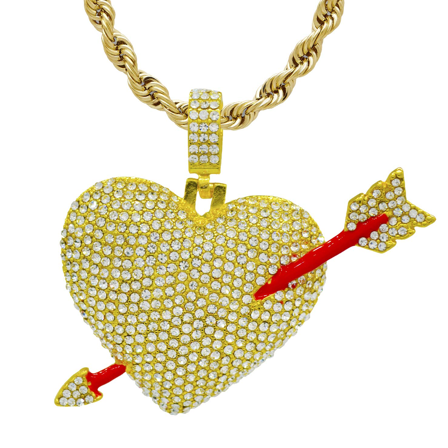 22ceb96b92dbf Dfwjeweler Hip Hop 18 k Gold Plated Iced Out cz Fully Broken Heart Pendant  with Tennis Chain or Rope Chain