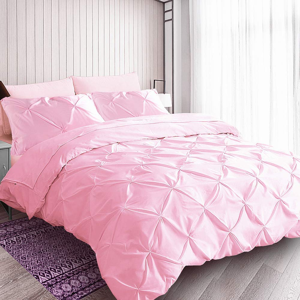 """Horimote Home Pink Duvet Cover Full, Runched Pinch Pleated Pinktuck Pattern Duvet Cover, Blush Peach Girls Bedding, Cotton Blend, 80""""x90"""", No Comforter"""