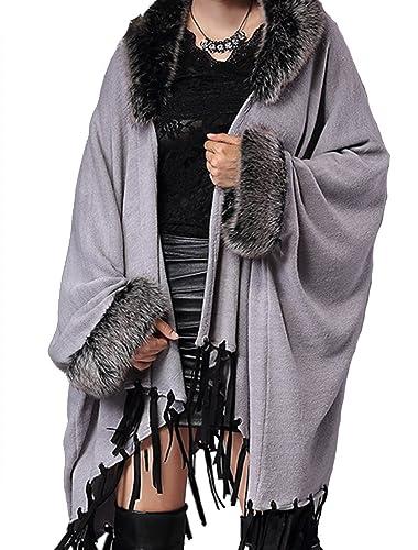 Helan Mujeres imitación de piel de Fox de la borla de la capa del cabo Gris