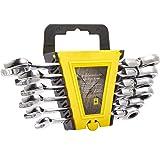 フレックスラチェットレンチセット 8~17mm 6点セット 72ギア/首振り機能 両用ヘッド スパナ ラチェットハンドル 板ラチェット 工具