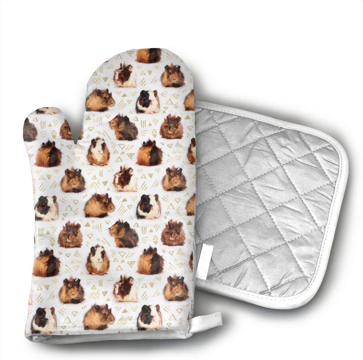 Star Blue Design Guinea Pigs Oven Mitts & Heat Resistant Pot Holder - with Polyester Cotton Non-Slip Grip, Best Used As Baking, Grilling, BBQ, Cooking, Kitchen Or Oven Gloves