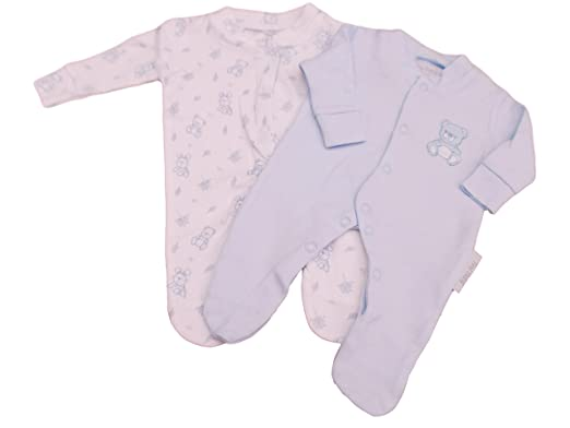 8cfb68283 Tiny Baby BNWT Premature Preemie Teddy Twin Pack Sleepsuits in Blue  (5-8lbs): Amazon.co.uk: Clothing