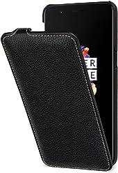 StilGut UltraSlim, Housse OnePlus 5 en Cuir avec Fonction Smart-Cover. Etui de Protection One Plus 5 à Ouverture Verticale et Fermeture clipsée, avec Fonction Sleep-Wake en Cuir véritable, Noir