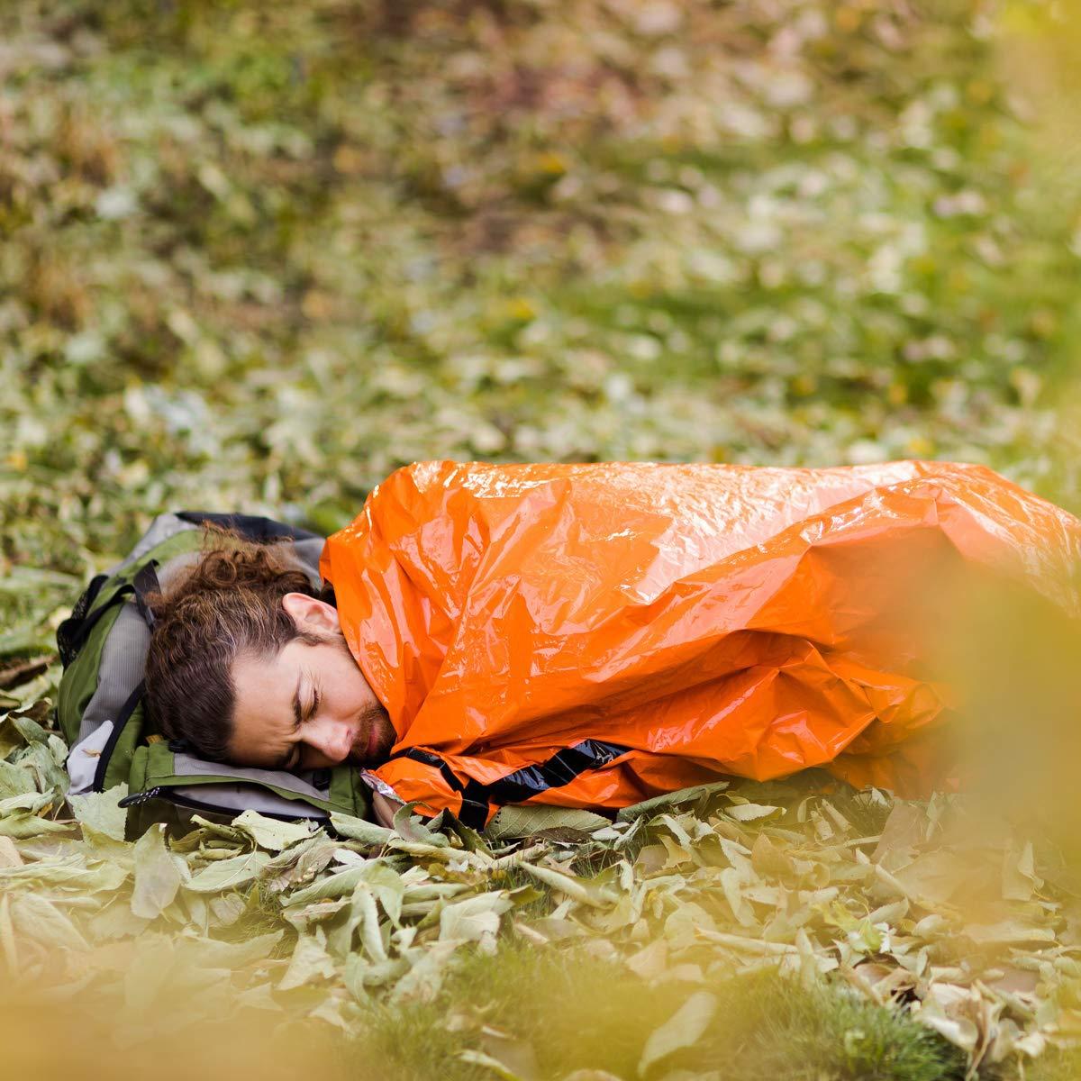 Homeet Biwaksack Rettungsdecke Survival Schlafsack PE Bivy Outdoor Rettungszelt mit Wasserdicht Nylon Leicht Zelt, mit Pfeife für Camping, Wandern, Auto, Klettern, Skifahren Notfall-Zelt 215 x 90cm