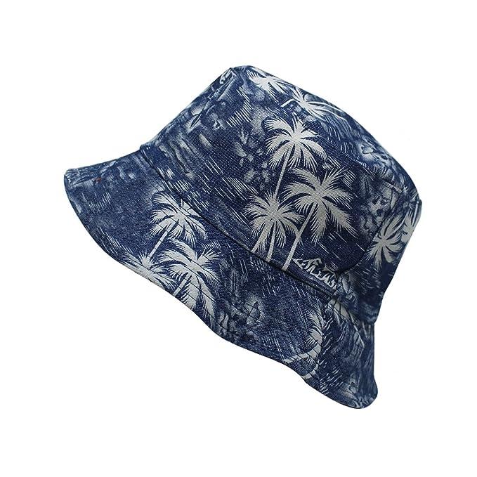 ChoKoLids Unisex 100% Canvas Cotton Palm Tree Bucket Hat ... 56296f59164b
