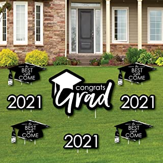 product image for Big Dot of Happiness Black and White Grad - Best is Yet to Come - Yard Sign and Outdoor Lawn Decorations - Black and White 2021 Graduation Party Yard Signs - Set of 8