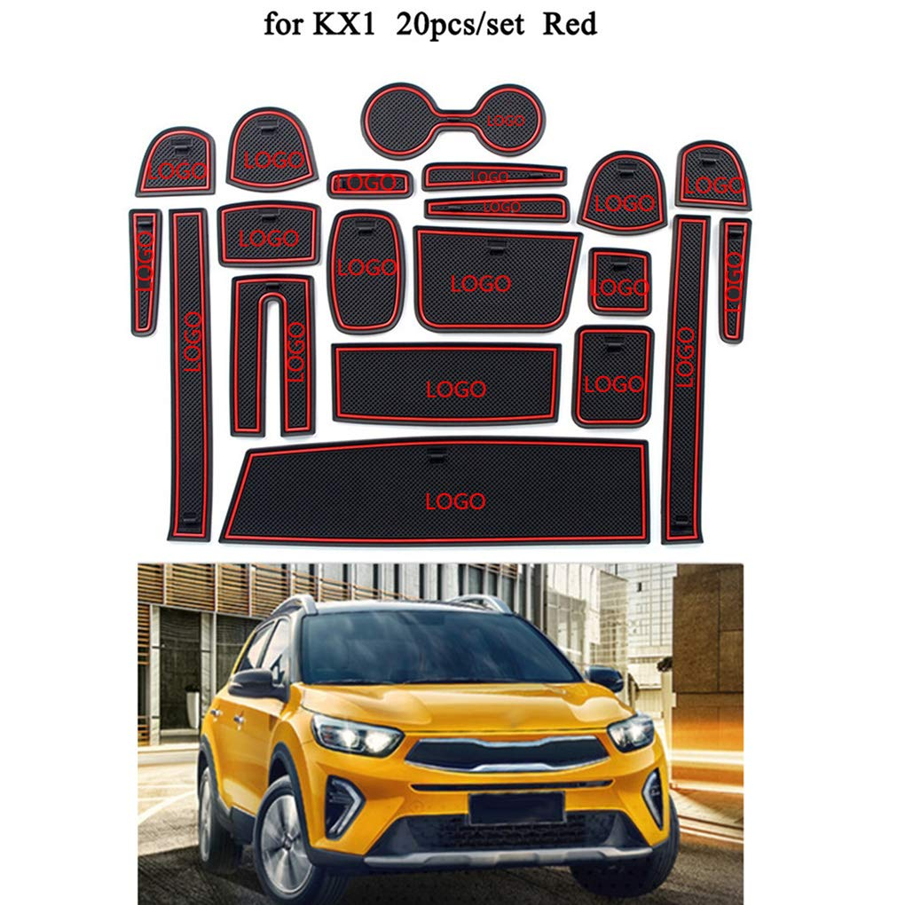 AUWU 20pcs/Set Dustproof Car Gate Slot Mat Decoration Non-Slip Door Grrove Pad Replacement for Kia Kx1