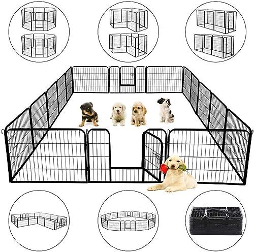 Topeakmart 24 32 Panels 32 40-inch Pet Dog Pen Heavy Duty Foldable Metal Portable Puppy Exercise Pen Barrier Cat Chicken Rabbit Fence with Door Indoor Outdoor Black