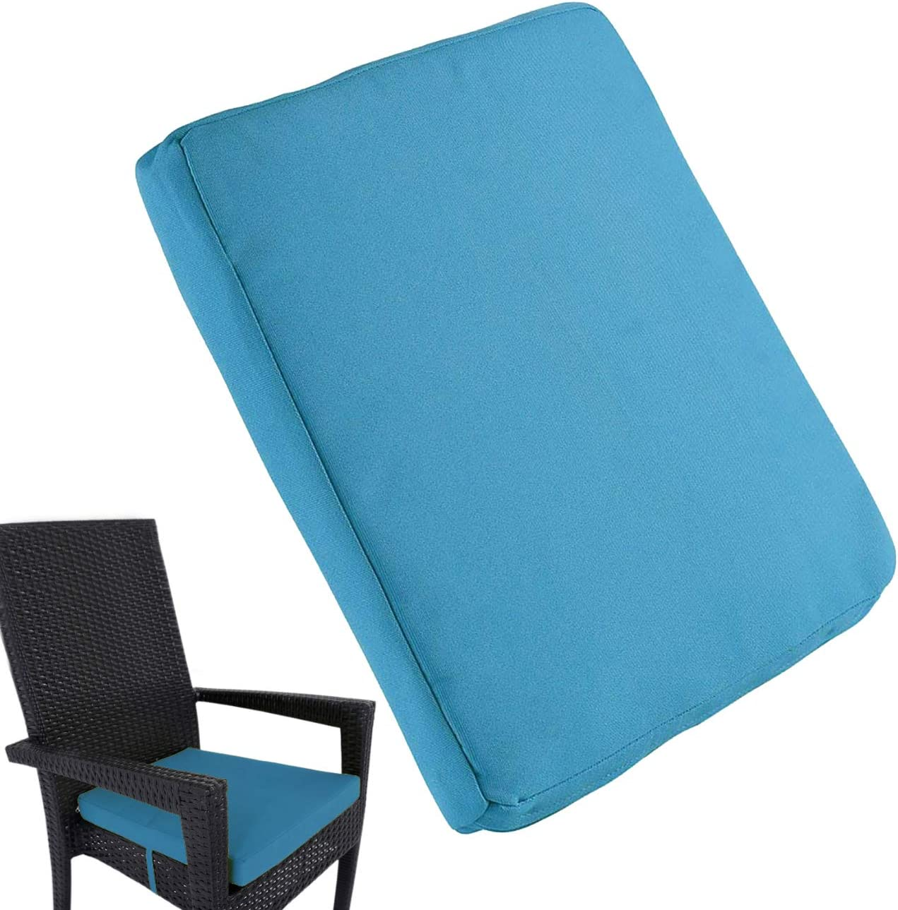 Uheng 6 Pack Patio Outdoor Chair Cushions with Ties, Seat Pads Mat, Waterproof Removable Cover, Comfort Memory Foam Nonslip for Garden Deck Picnic Beach Pool -18 X 18 Blue
