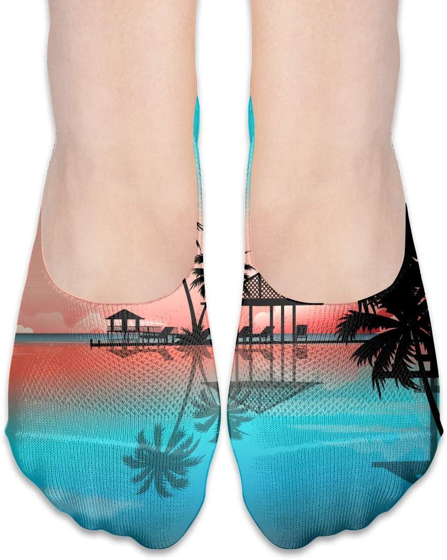 Pin-1 Womens Polyester Cotton Non Slip Flat Boat Line Crew Socks Low Cut Ankle Socks Boat Leggings Seaside Coconut Tree