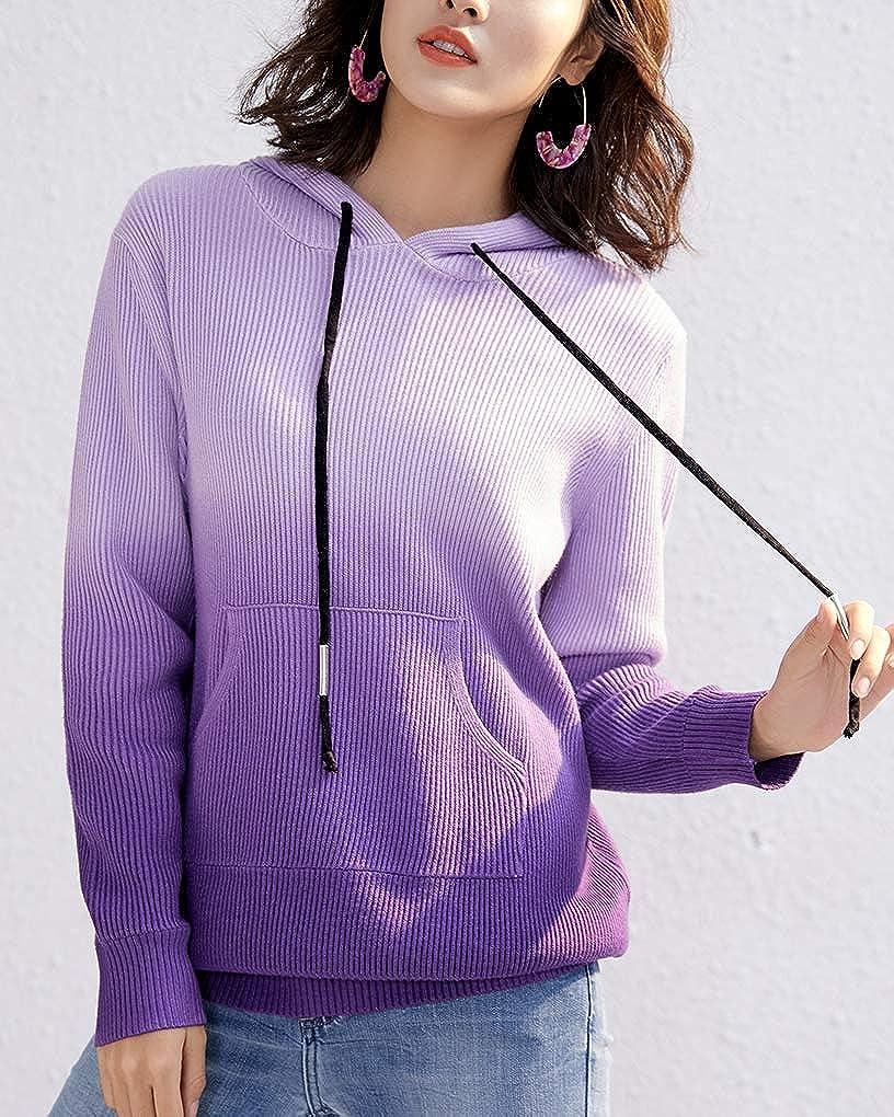 ChicMarks Womens Color Block Knit Hoodies Long Sleeve Drawstring Knit Hoodies
