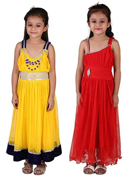 a7c7df84d3 Crazeis Girl's Beautiful Party Wear Dress Combo for Age 3 to 8 Years ...