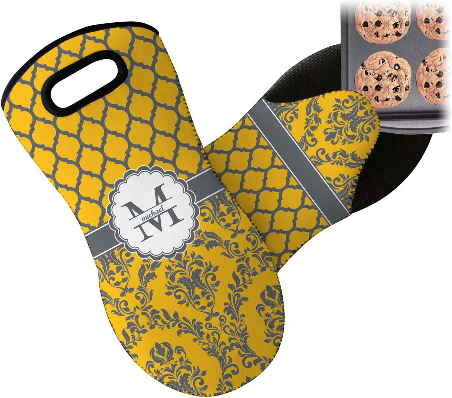 RNK Shops Damask & Moroccan Neoprene Oven Mitt (Personalized)