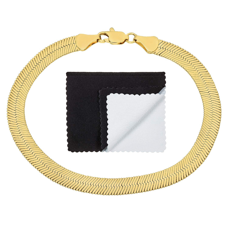 The Bling Factory 7mm 14k Gold Plated Herringbone Bracelet, 7'' + Microfiber Jewelry Polishing Cloth