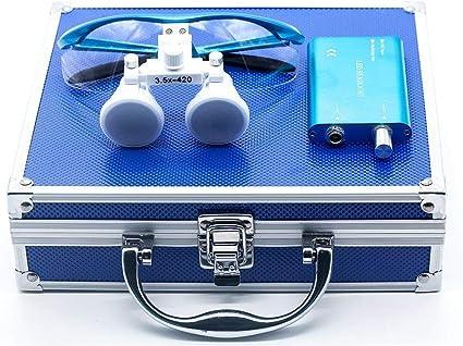 Aluminum Box Blue BoNew-Oral Surgical 3W LED Headlight Lamp With 2.5/×420mm Binocular Loupes Optical Glasses