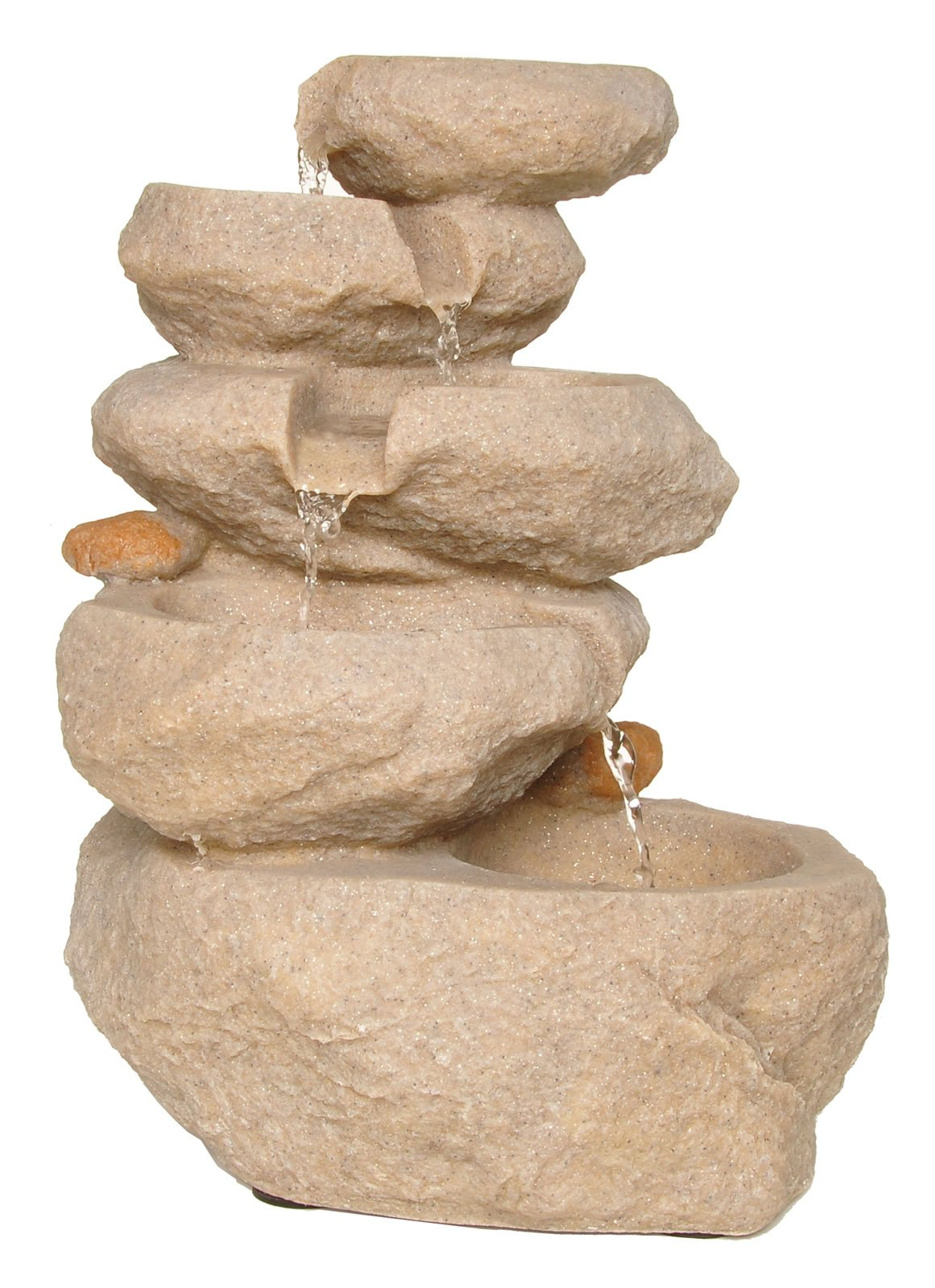 Zenvida Sandstone Tabletop Waterfall Fountain with LED Lights, 14''