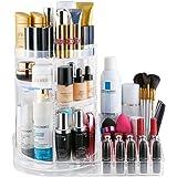 Jerrybox Acrylic Cosmetic & Jewelry Storage Box, 360-Degree Rotating Makeup Organizer, Adjustable Multi-Function Cosmetic Organizer, Transparent