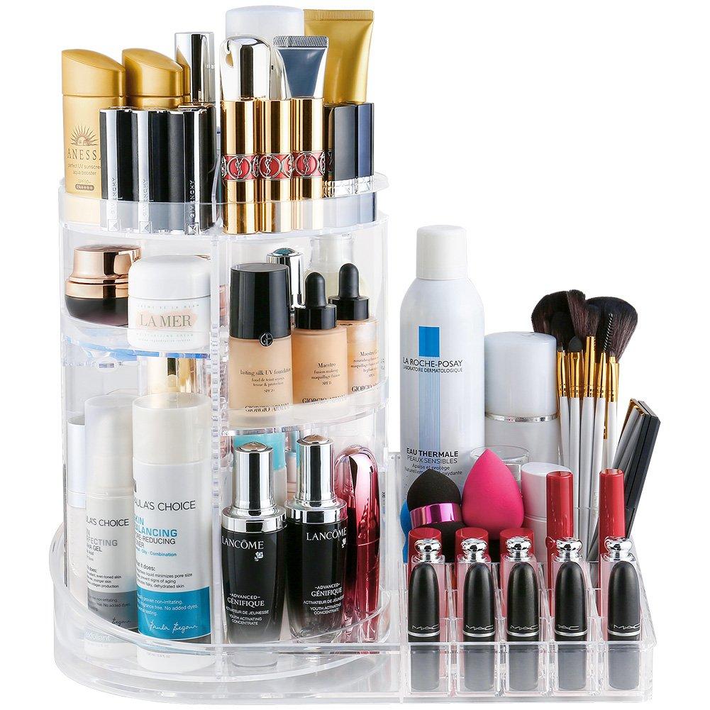 Jerrybox Makeup Organizer Tray, Adjustable Makeup Organizer, Fits Toner, Creams, Makeup Brushes, Lipsticks and More, Transparent