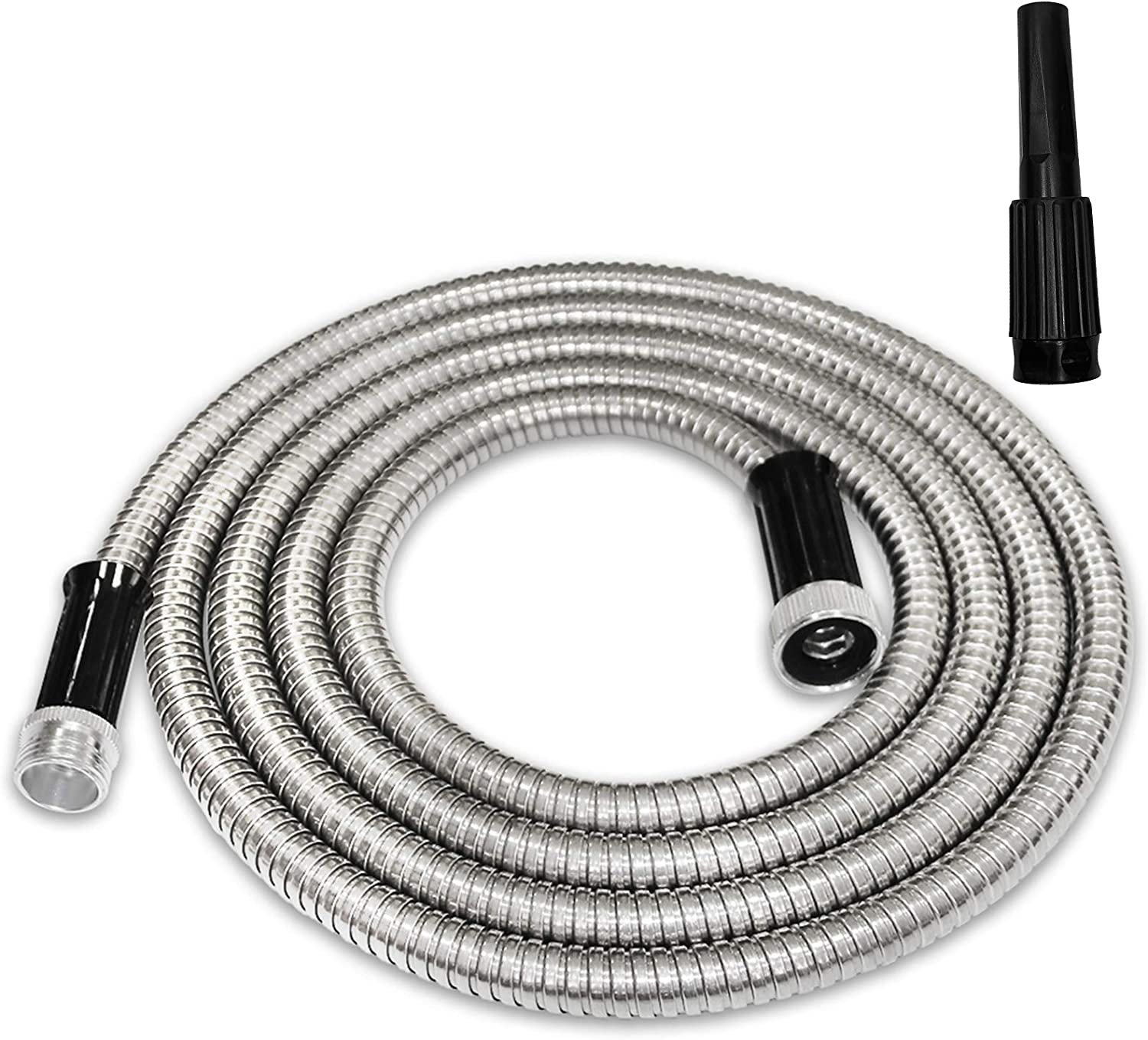 TUNHUI 10FT Heavy Duty Metal Garden Hose Stainless Steel Water Hose with Adjustable Nozzle Metal Hose Durable Kink Free and Easy to Store Outdoor Hose