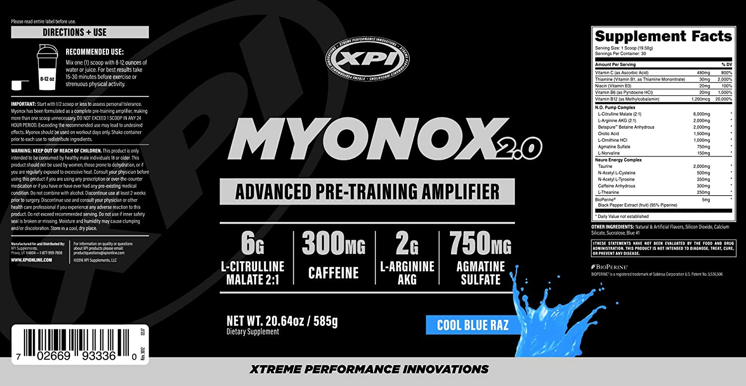XPI Myonox 2 0 (30 Serv) (Cool Blue Raz) - Advanced Pre-Training Amplifier