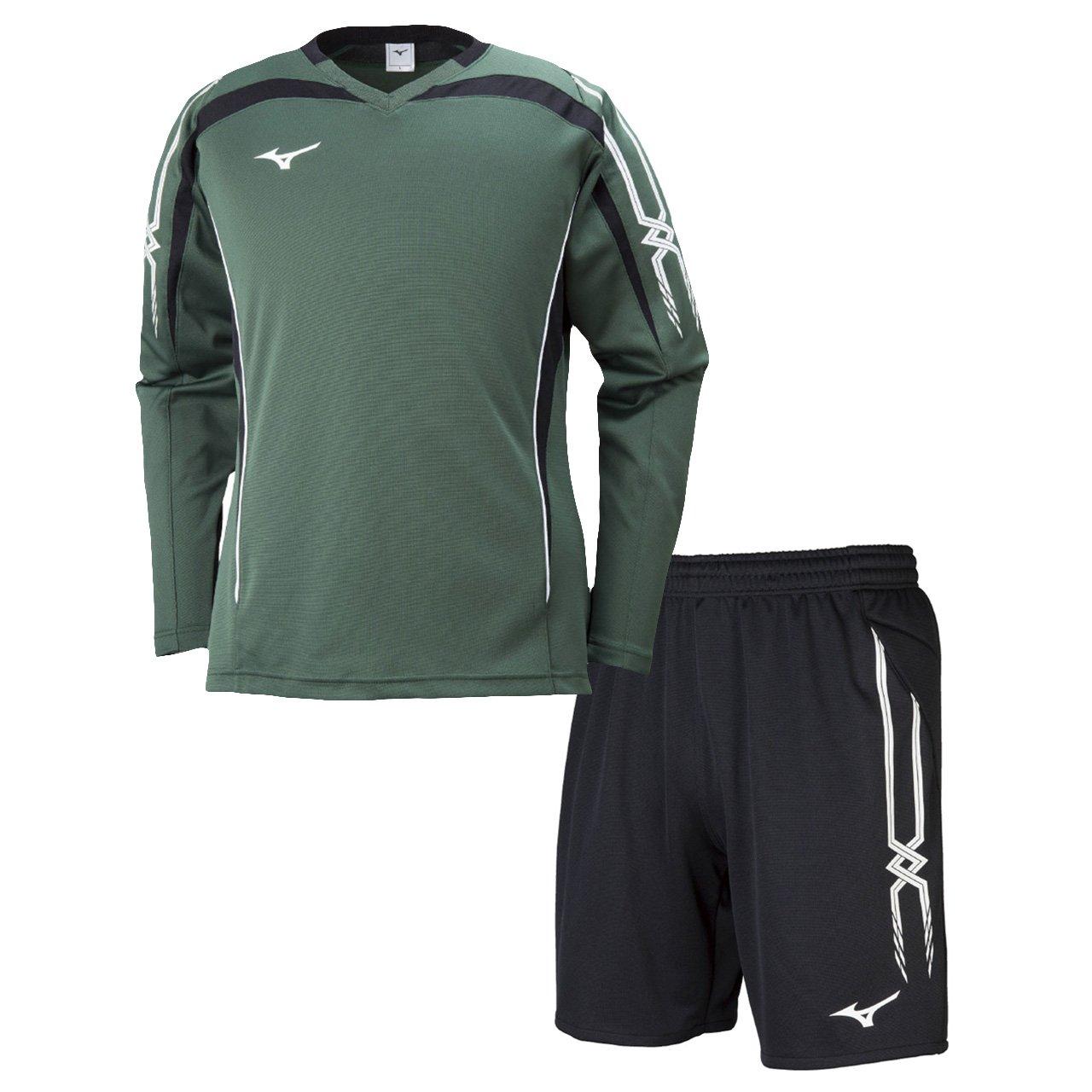 ミズノ(MIZUNO) キーパーシャツ&キーパーパンツ 上下セット(グリーン/ブラック) P2MA8070-33-P2MB8070-09 B079Z13KFL S グリーン/ブラック グリーン/ブラック S